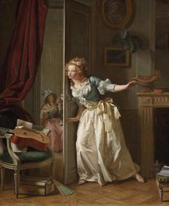 Meisje in een interieur dat een gesprek tussen twee geliefden afluistert