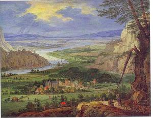 Uitgestrekt rivierlandschap met gezicht op enkele dorpen