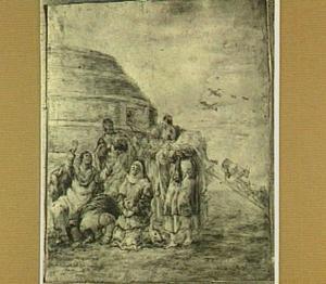 Noach en zijn familie betuigen dank na het verlaten van de ark