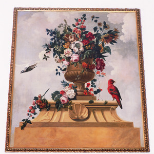 Bloemstilleven in een tuinvaas met papegaai