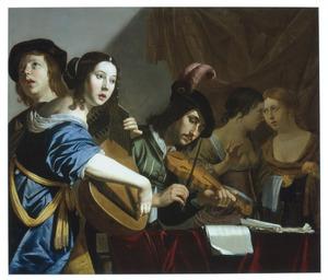 Musicerend en zingend gezelschap