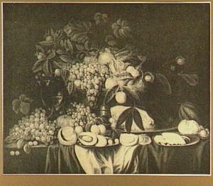 Vruchtenstilleven met oesters en ham
