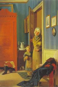 Interieur van een kamer met een bedelares en haar kind in de deuropening
