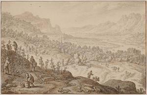 Panoramisch landschap met druivenplukkers (de maand Oktober)
