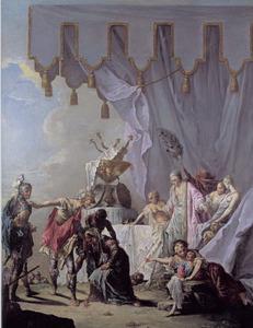 De vrouwen van Darius voor Alexander en Hefaistion