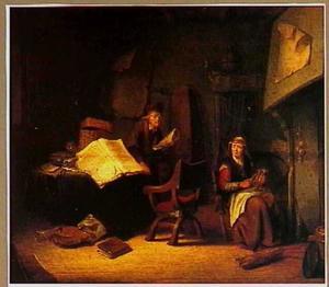 Een bejaard paar in een interieur met vanitas-attributen