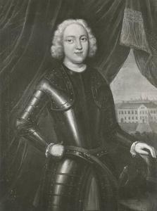 Portret van Johan Maurits van Pabst (1701-1775), op de achtergrond Huis Bingerden