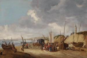 Kustgezicht met figuren, boten en wagens op het strand bij Scheveningen
