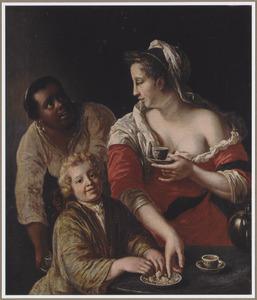 Jonge vrouw en een jongen chocolade drinkend, in gezelschap van een zwarte dienstmeid