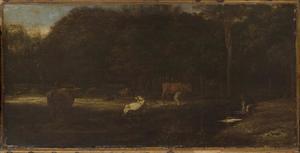 Landschap met vee op een weide