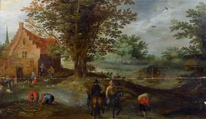 Ruiters verlaten een boerderij