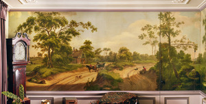 Landschap met paard en wagen op een zandweg