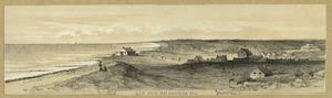 Aan zee bij Domburg met links van het midden het Badpaviljoen en geheel rechts het Badhotel