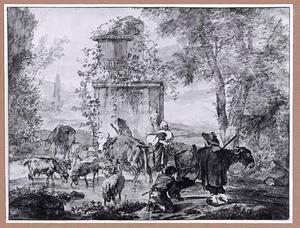 Herders met vee bij een doorwaadbare plaats bij een tuinvaas