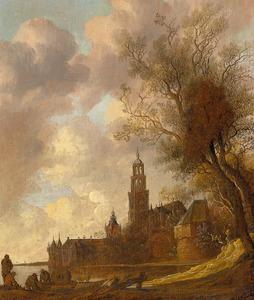 Versterkte stad aan een rivier met het kasteel Montfoort en een onbekende kerk