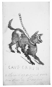 Cave Canen. Mozaiek op de grond voor een deur te Pompei