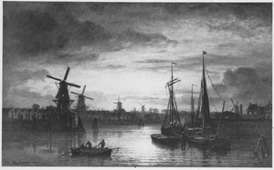 Stadsgezicht bij avond met haven en molens