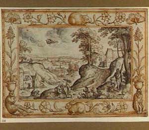 Landschap met het het offer van Isaäk (Genesis 22:10), in een decoratieve omlijsting met planten en dieren