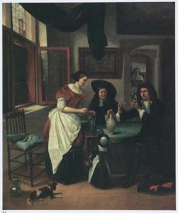 Interieur met rokend en drinkend gezelschap