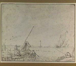 Meer met boten en figuren