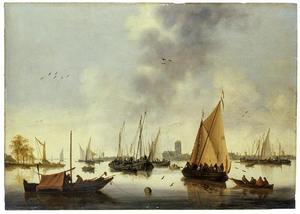 Riviergezicht met schepen, Dordrecht aan de horizon