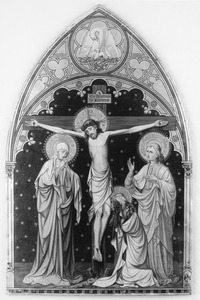 Gerkruisigde Christus met Maria, Johannes en Maria Magdalena