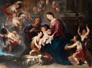 Maria met het Kind aanbeden door de H. Elisabeth en Johannes de Doper als kind en engelen