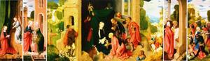 The annunciation (outer left), the visitation (left), the adoration of the Magi and the sheperds (centre) the presentation in the temple (right), the massacre of the innocents (outer right)