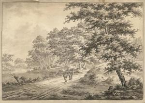 Boslandschap met een man met zijn muilezel