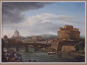 Gezicht op Rome met de Engelenburcht vanaf de oostelijke oever van de Tiber