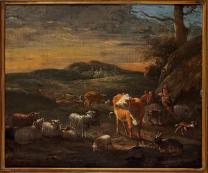 Zuidelijk landschap met herders en vee voor een hut bij zonsondergang