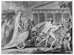 Cleobis en Biton trekken de wagen van hun moeder naar de tempel van Juno