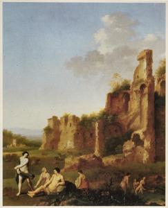 Arcadisch landschap met badende vrouwen