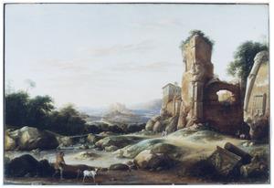 Zuidelijk landschap met een herder en twee geiten bij een antieke ruïne