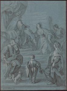 De koningin van Seba stelt Salomo op de proef met raadsels (1 koningen 10:1-10; Kronieken 9:1-9)