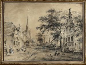 De Achterweg (tegenwoordig: Schoolstraat) in Voorschoten