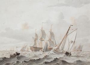 Driemaster en andere zeilschepen op woelige zee
