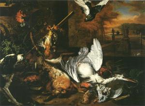 Jachtstilleven met dode reiger en een hond die naar een vogel blaft