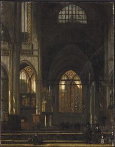 Transept van een kerkgebouw met elementen van de Oude Kerk in Amsterdam