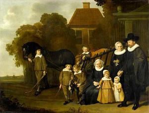Familieportret van Hendrick Jansz. Meebeeck Cruywagen (1598-....), Barbara Jans Mastenbroek (....-1650) en hun kinderen en grootmoeder