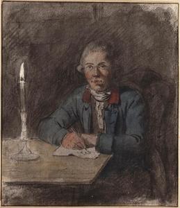 Zelfportret, zittend aan tafel bij kaarslicht
