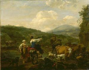 Herderinnen met vee bij een drinkplaats