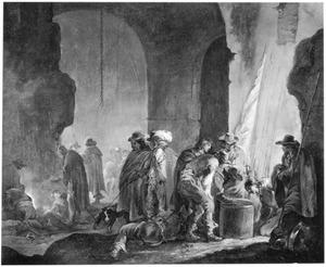 Soldaten en officiers in een wachtlokaal