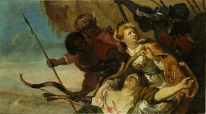 Chariclea verpleegt de gewonde Theagene met Egyptische rovers in aantocht (Heliodorus: Aethiopica)