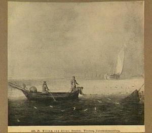 Vissers in een roeiboot halen hun net binnen; rechts een boei