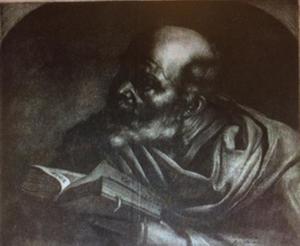 Een kale man met een boek