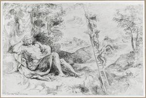 Jacobs droom: engelen dalen naar de aarde af uit de hemel en omgekeerd langs een ladder (Genesis 28:10-22)