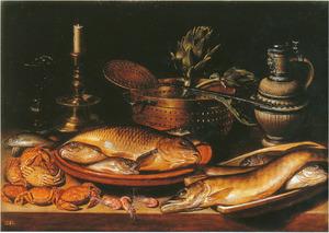 Visstilleven met kandelaar