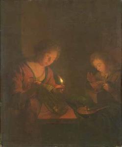 Een jonge vrouw met een kaars en een jongen bij een vuurtest