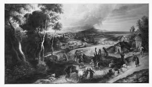 De Zomer: landschap met boeren onderweg